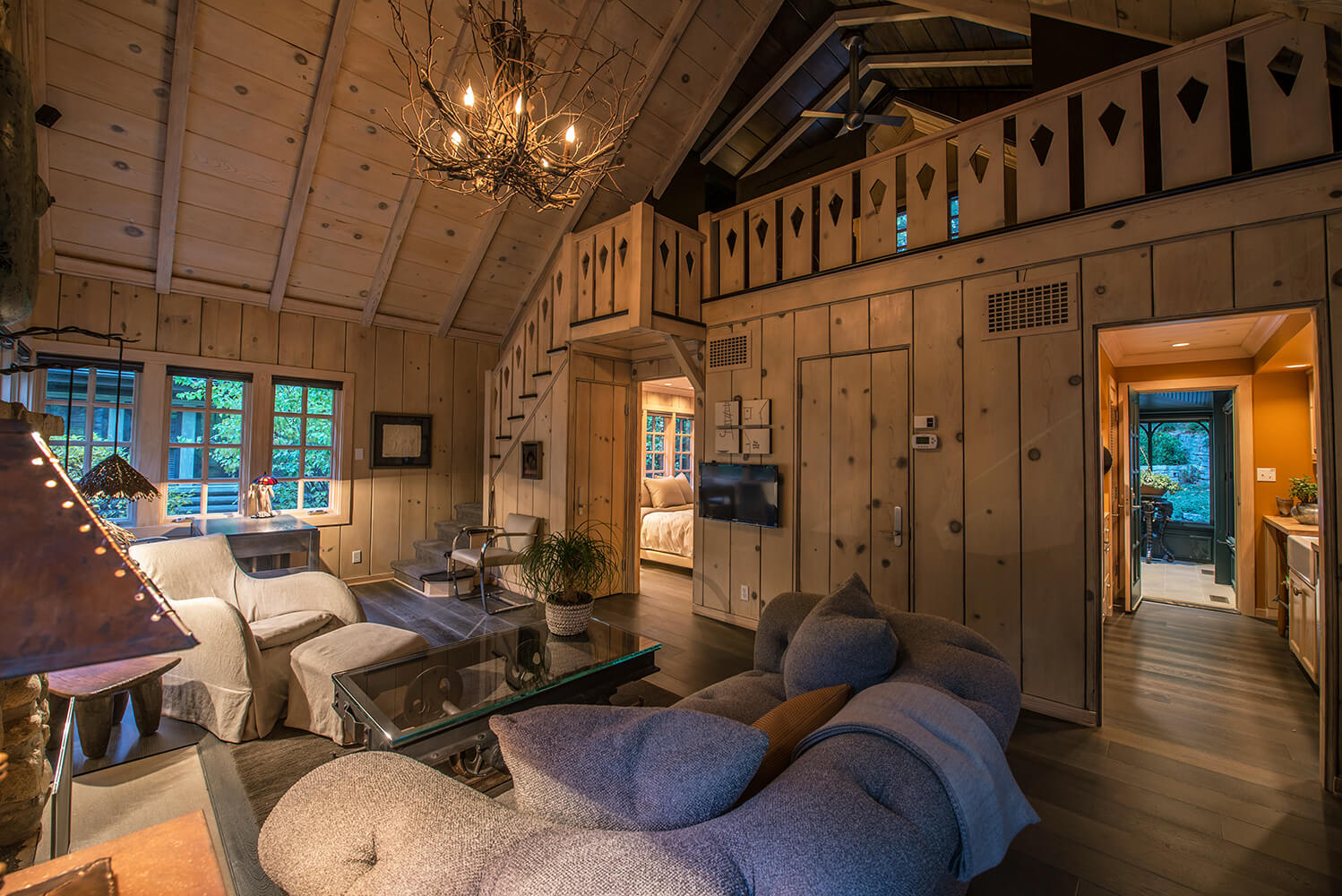 Michigan, Indiana, Cottage, Pine Paneling, Copper roof, Stone Fireplace, Conservatory, interior design, eclectic, modern, antiques, gardens, cabin, stucco, shingles, copper, stone patio, linen, slipcover